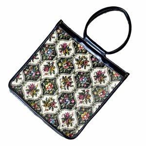 Vintage Floral Multicolor Tapestry Tote Black